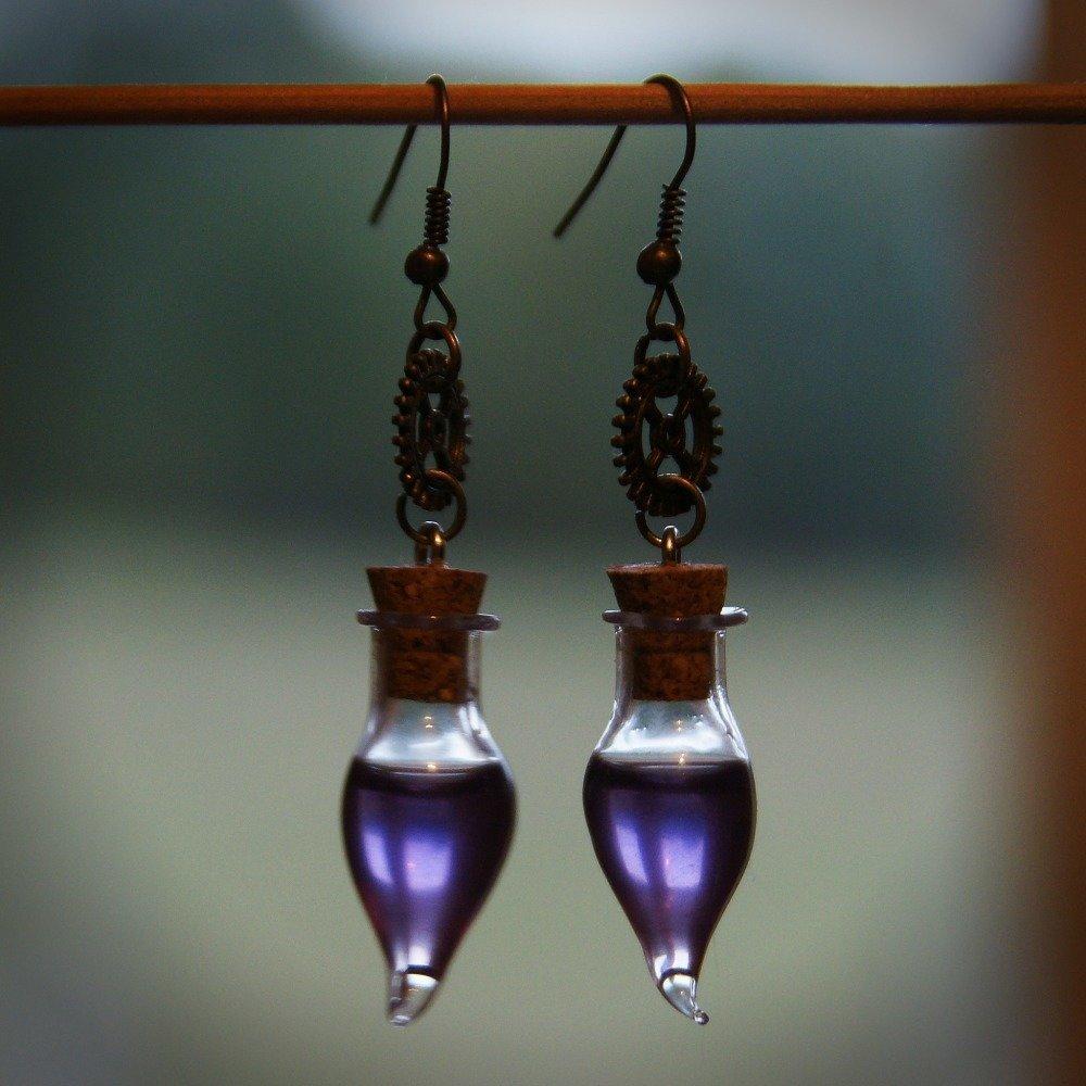 Boucles d'Oreilles Fioles Goutte Violettes