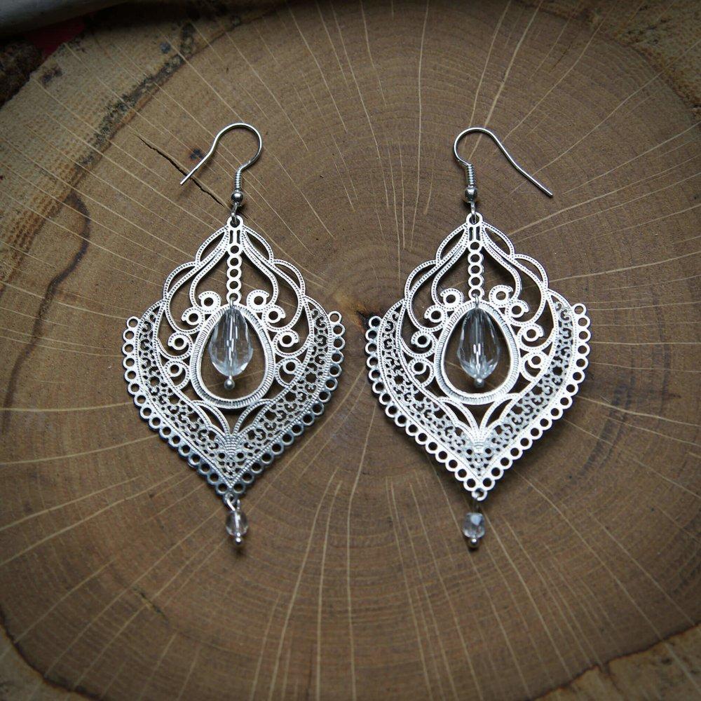 Boucles Cristal perles de verre