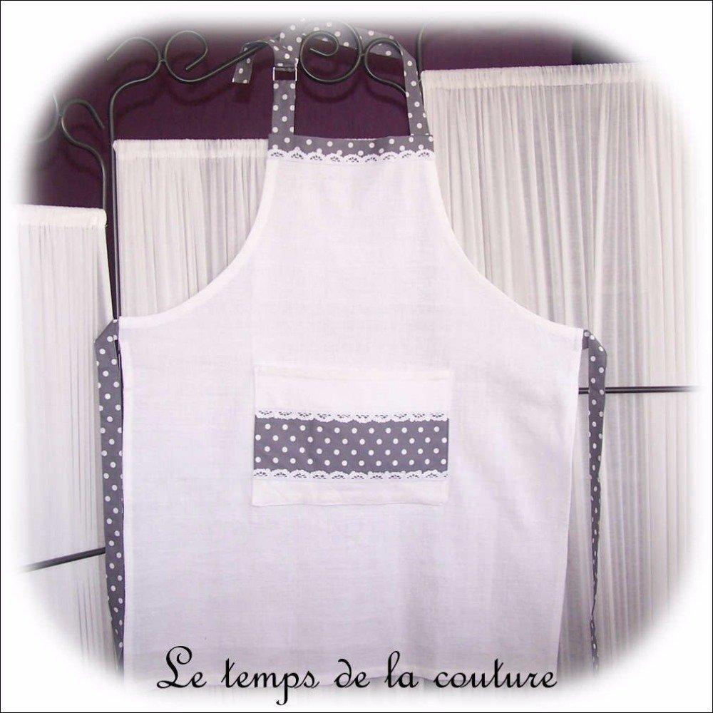 """Tablier cuisine - Femme ou homme - Tons blanc et gris - motif """"pois blanc"""" - Fait main"""