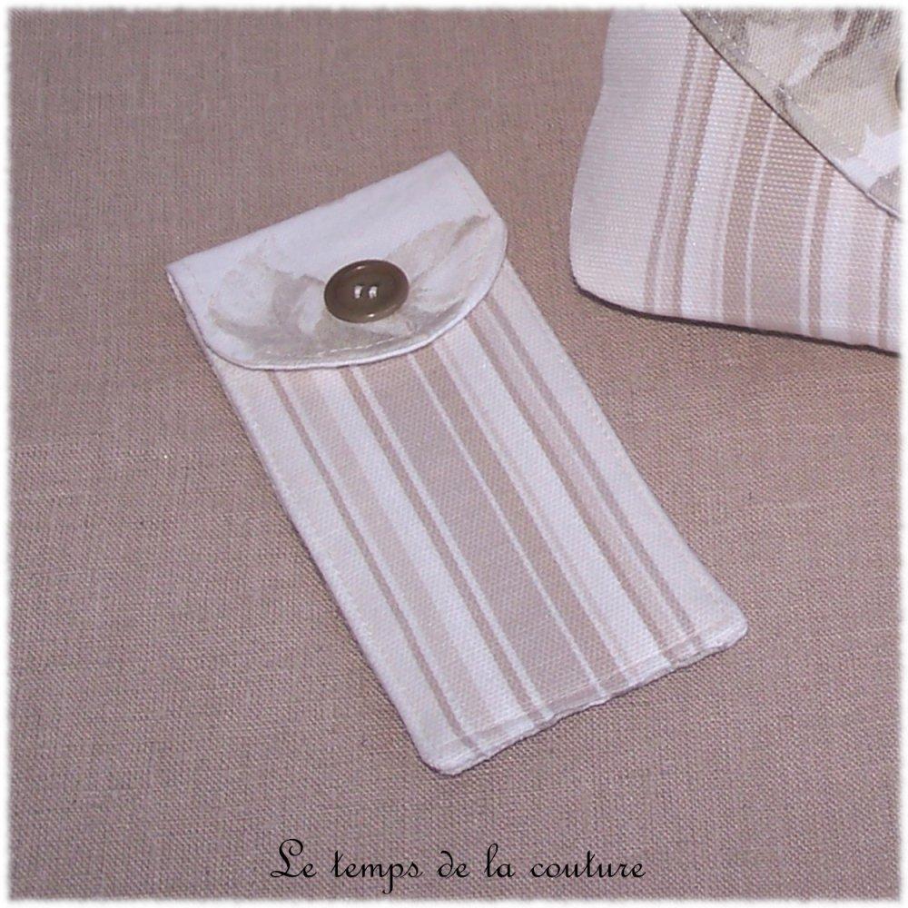 Pochette trousse étui - Beige et blanc - Fait main.