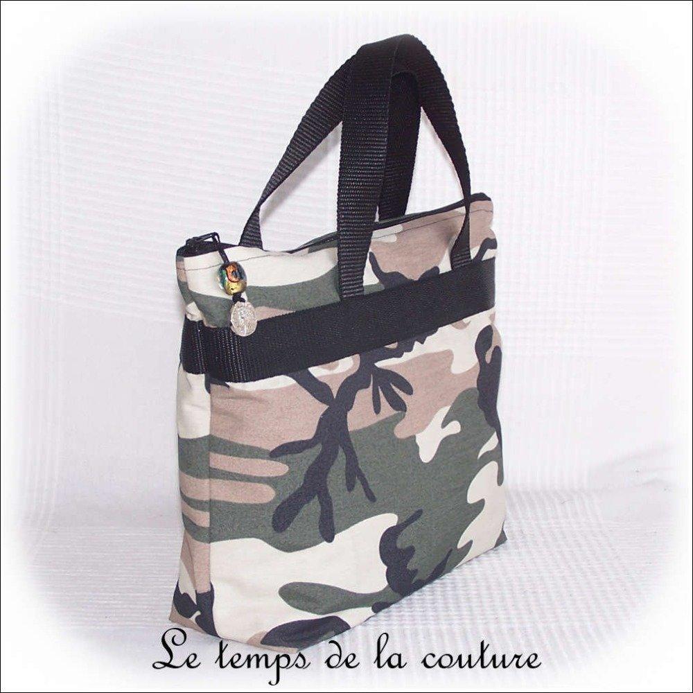"""Sac à main - Sac cabas - Sac shopping - Noir, kaki, marron et beige - Motif """"Camouflage militaire"""" - Fait main."""