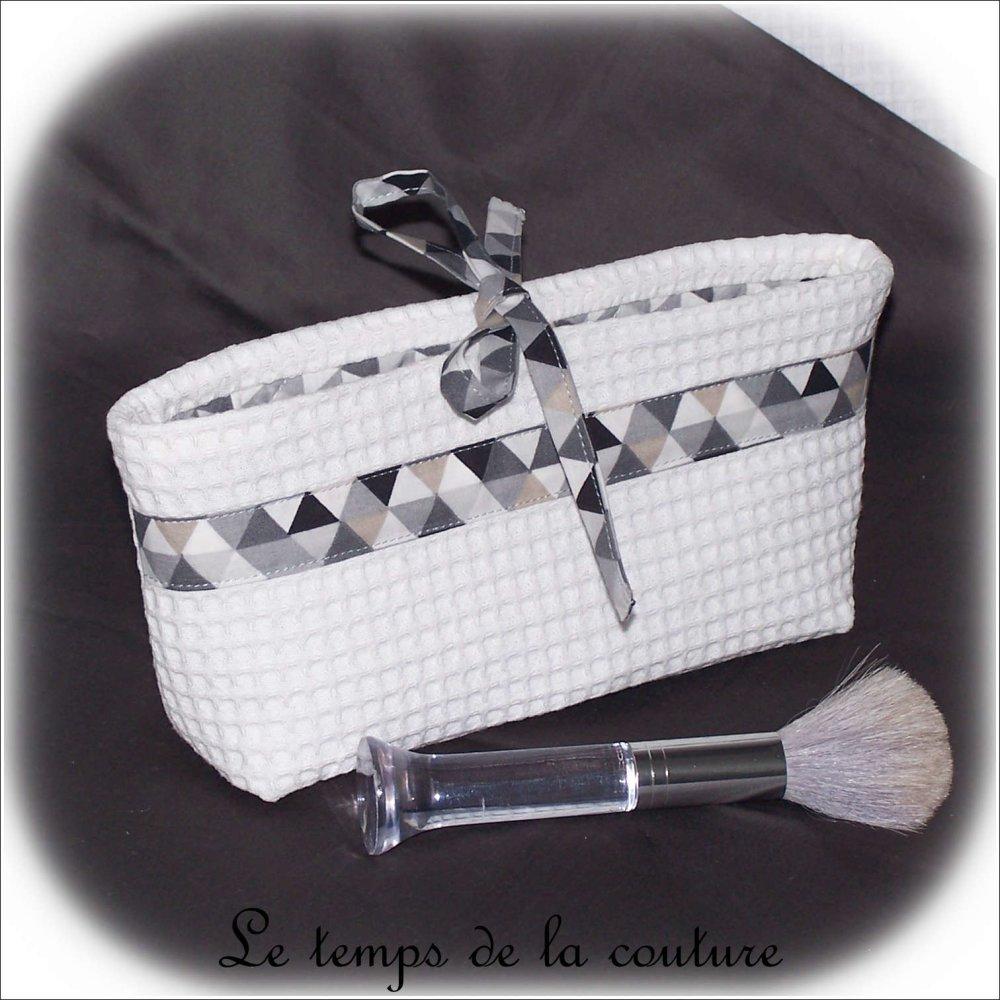 Pochette trousse vide poche à soufflet -  Tons de blanc, gris, taupe et noir - Fait main.