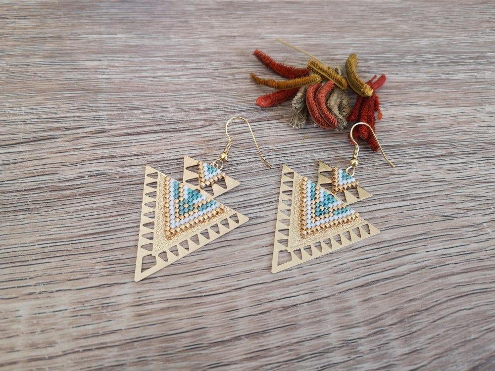 Boucles d'oreilles Aztèque Triangle Turquoise et doré