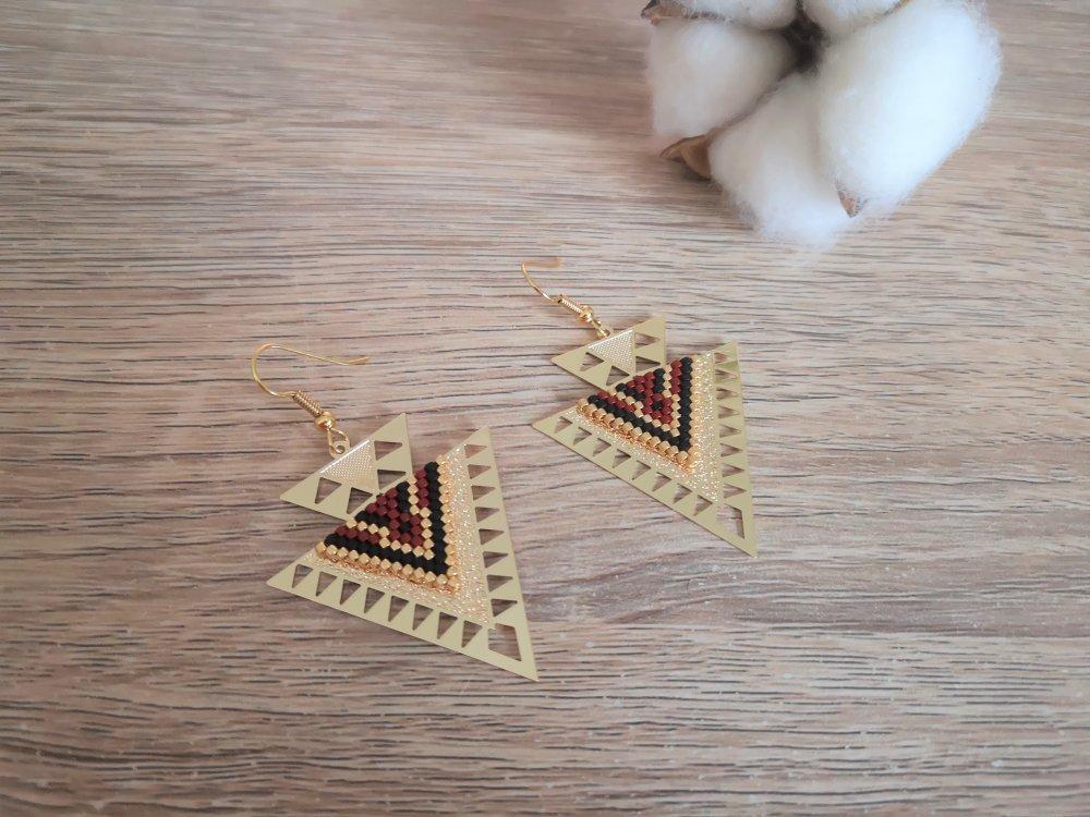 Boucles d'oreilles Aztèque Triangle Bordeau et doré