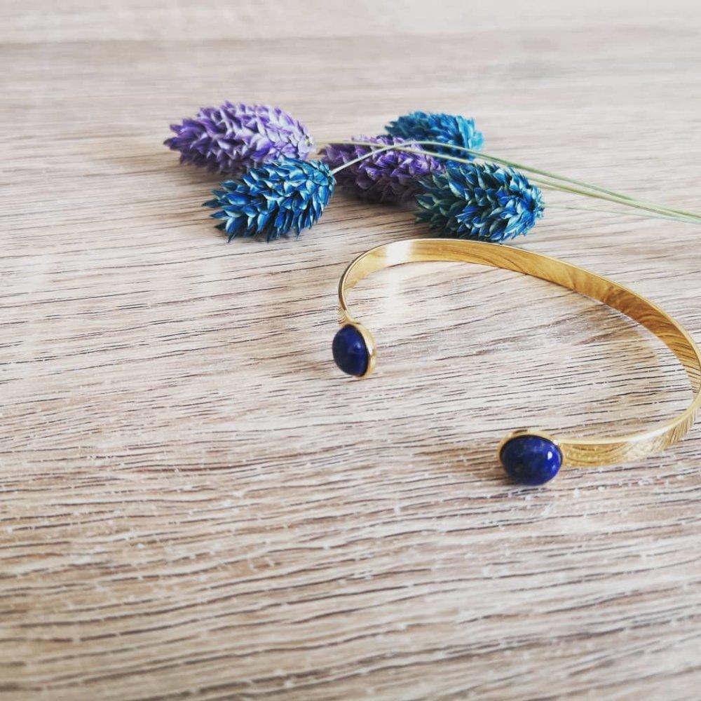 Bracelet manchette cabochon Lapis Lazuli