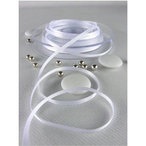 Ruban en satin double face, blanc, largeur 3 mm, longueur 3 m, tissu décoratif