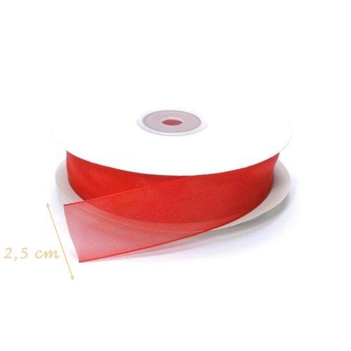 Rouleau de ruban rouge organza, largeur 2,5 cm x 6 m de long