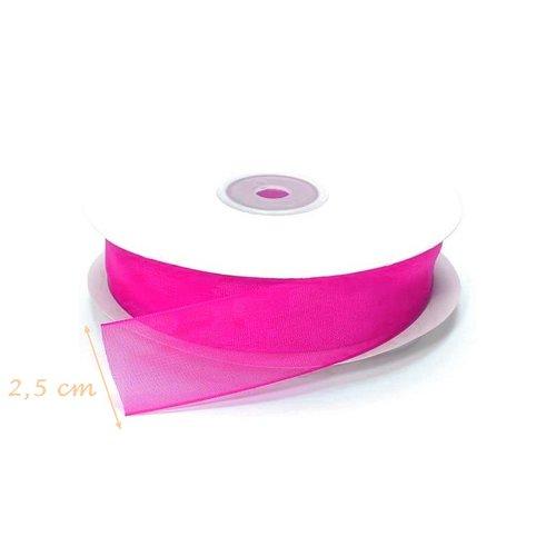 Rouleau de ruban organza rose fluo, largeur 2,5 cm x 10 m de long