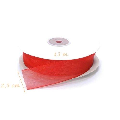 Rouleau de ruban rouge organza, largeur 2,5 cm x 13 m de long