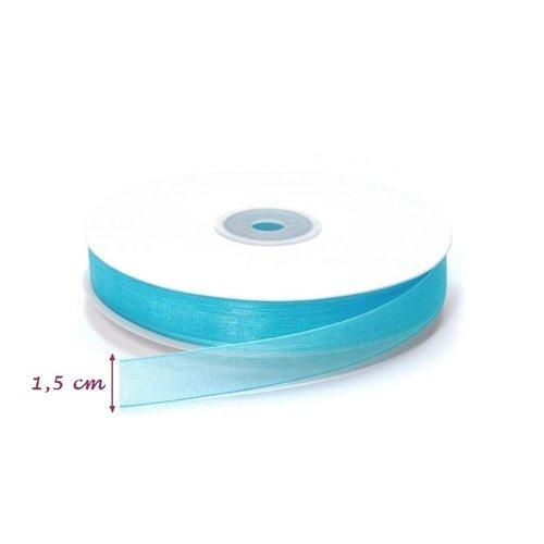 Rouleau de ruban organza turquoise, largeur 15 mm x 5 m de long