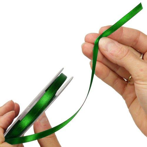 Ruban en satin simple face, vert foncé, largeur 6 mm, longueur 40 m, tissu décoratif