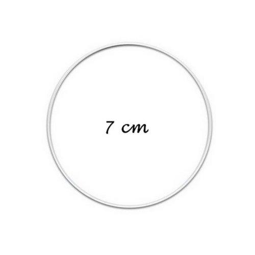 Cercle métallique blanc diam. 7 cm pour abat-jour, anneau pour attrape rêves