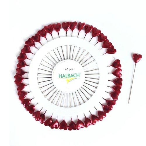 40 épingles à tête motif coeur, disque avec coeur rouge, 5,8 cm, acier