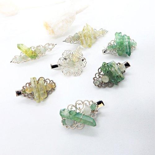 Une barrette «morgane» avec pierres et cristaux naturels tissés pour mariage ou autres occasions