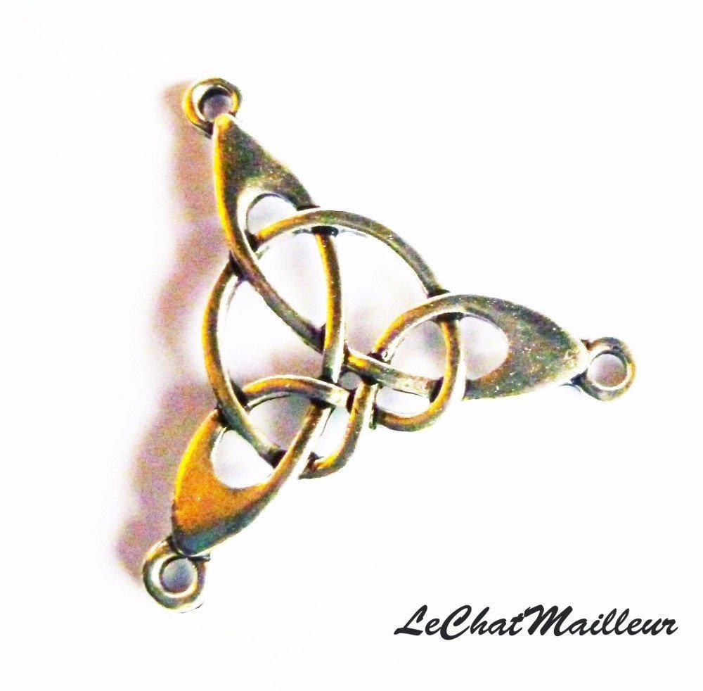 Connecteur celtique en métal argenté coeur noeud celte viking triskel breton sidhe (B001)