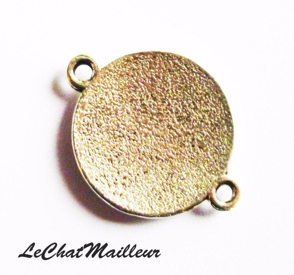 Connecteur celtique en métal argenté coeur noeud celte viking breton  (AZ006)