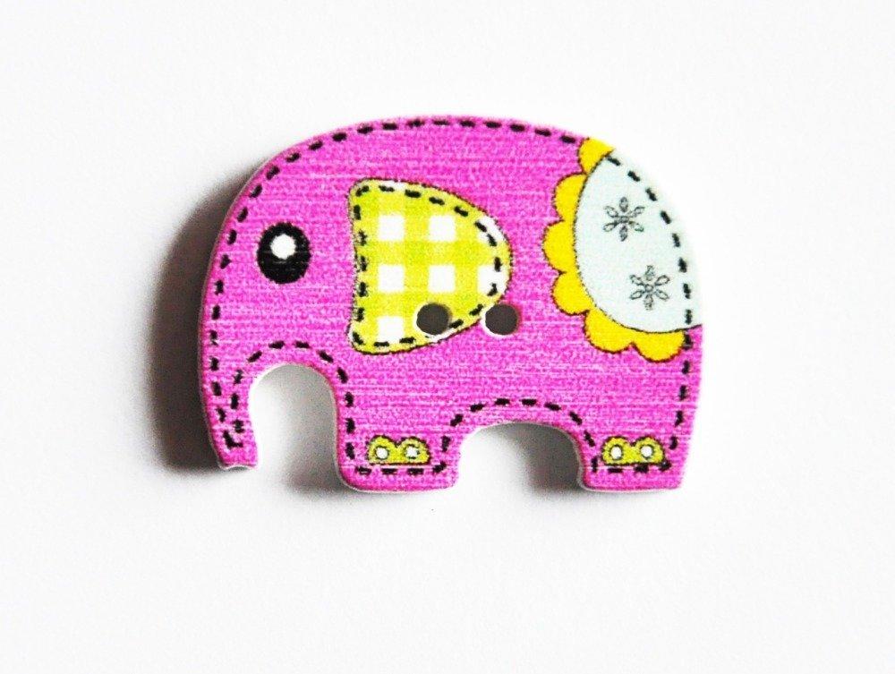 Bouton fantaisie en bois éléphant enfant rose 25 x 19 mm (A7010)