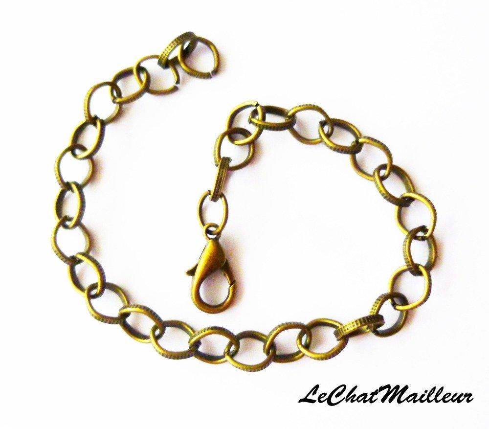Bracelet métal bronze mailles ciselées points breloques charms 20 cm  (AA023)