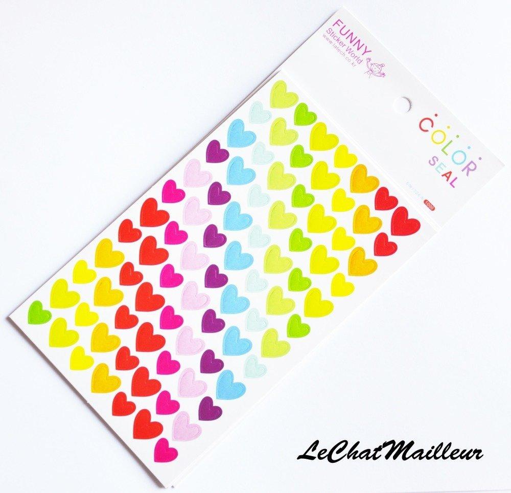 Lot de 6 planches de gommettes autocollantes coeur multicolore 15 cm c 9,3 cm sticker
