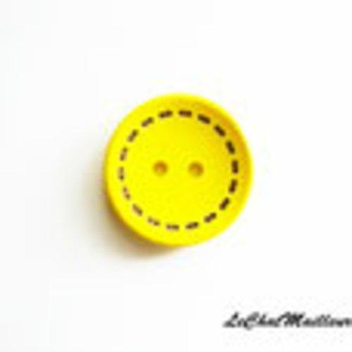 Lot de 10 boutons jaune en bois 25 mm contour couture fantaisie enfant mercerie