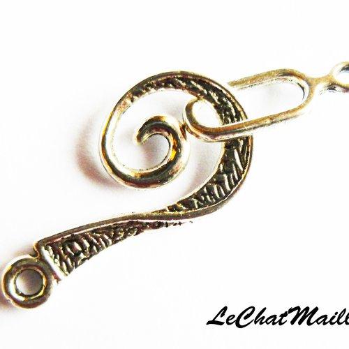 Fermoir bijoux toggle spirale métal couleur argenté 26x12mm,16x6mm collier bracelet