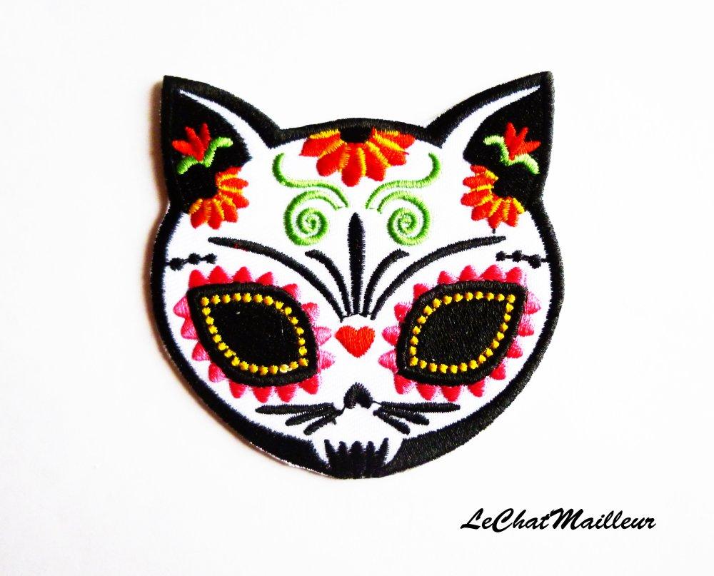 Patch écusson applique thermocollante brodé chat arabesques tatouage mexicain mort
