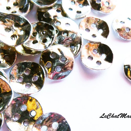 Lot de 5 boutons irrégulier 4 trous alliage métal argenté attache simple