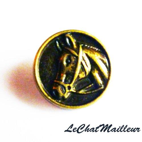 Bouton en métal couleur bronze rond image de cheval 15 mm manchette équitation