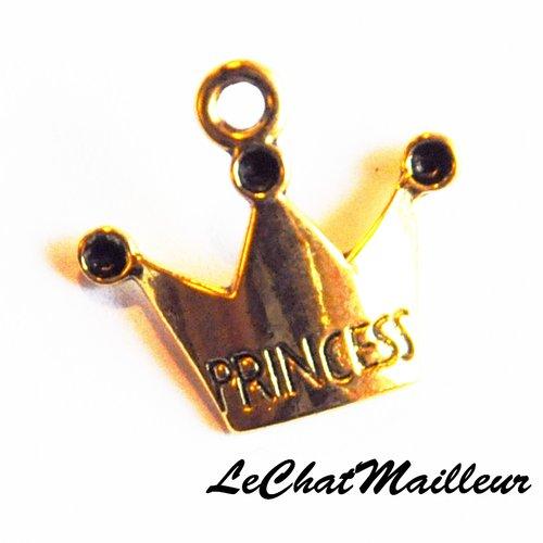 Breloque couronne princesse en métal doré diadème tiare prince pendentif