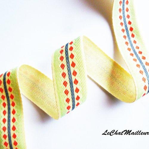 1 m ruban large coton crème vert losange 25 mm indien tendance géométrique