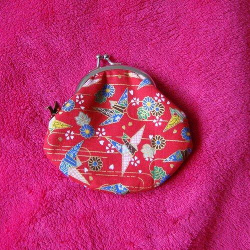 Porte-monnaie avec fermoir rétro grues rouges