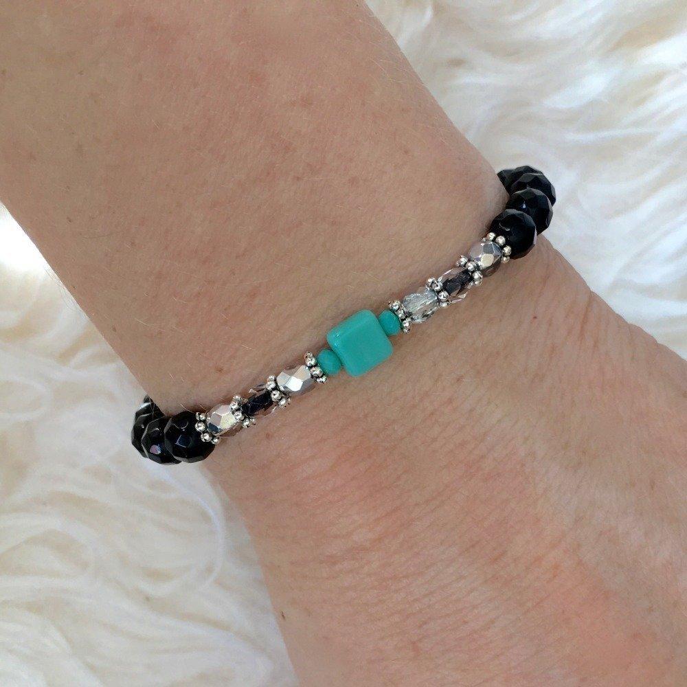 Bracelet chic noir et turquoise