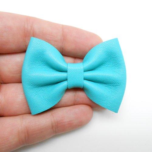Noeud en cuir turquoise de 5,5 x 4 cm