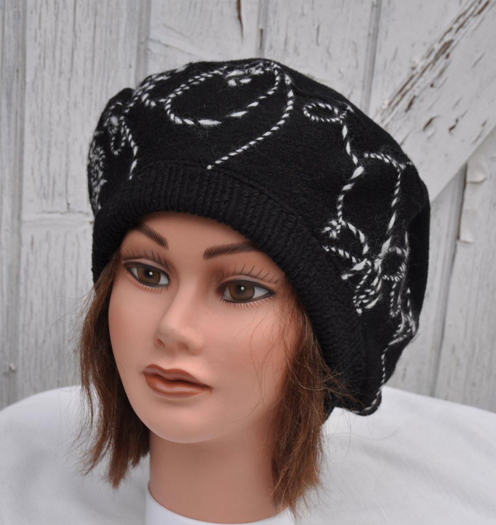 Bonnet, béret de créateur pour femme, hiver en laine noire - Taille L-XL 58,5 à 60cm