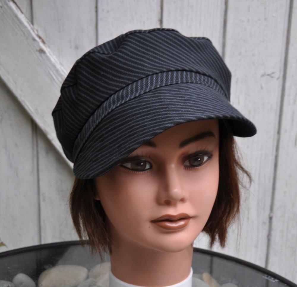 Chapeau Casquette femme, en coton noir rayé - Taille M 57cm