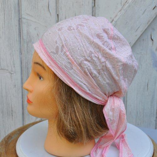Bandana, fichu,  foulard préformé en coton très léger rose - taille unique
