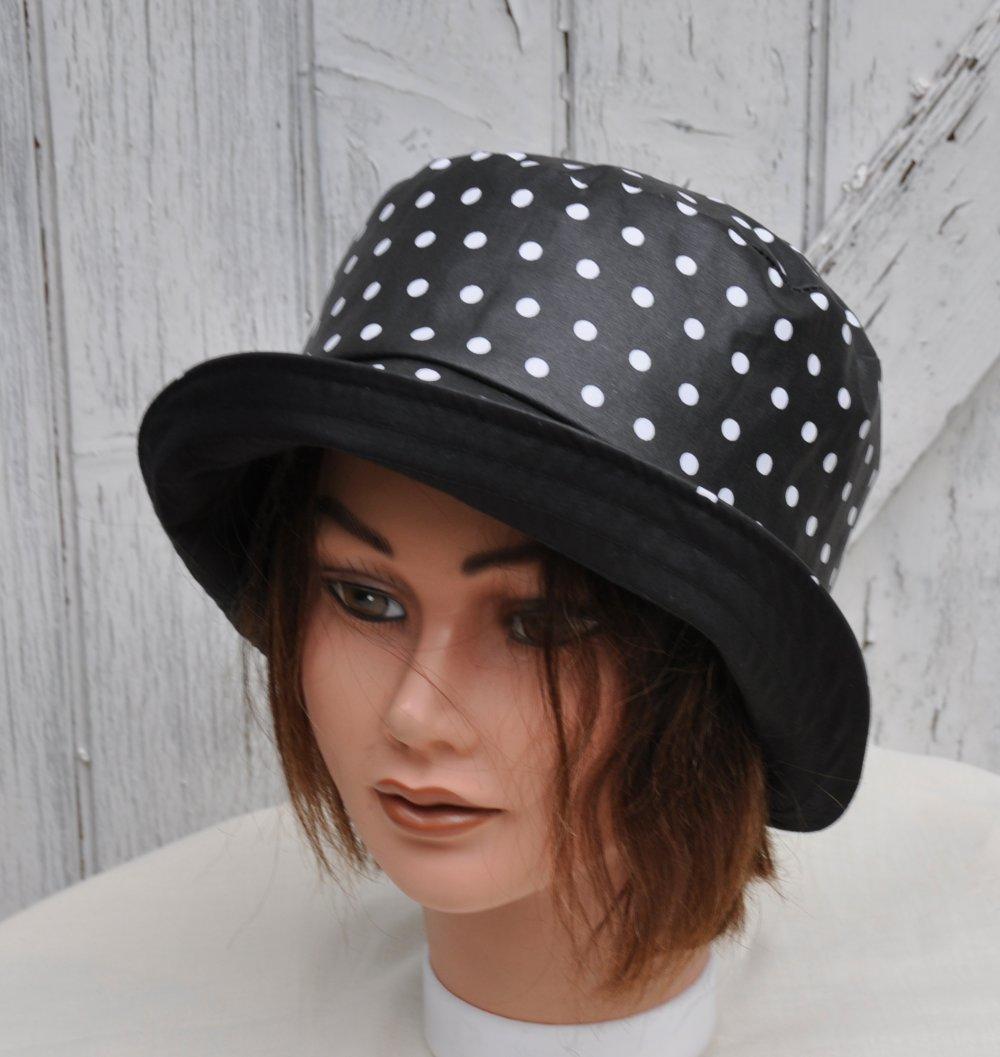 chapeau de pluie en coton enduit noir à pois blancs, taille 56-56,5cm