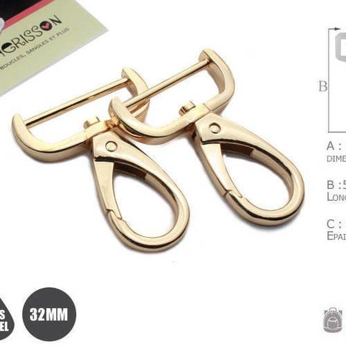 2 x 30mm mousquetons pivotants / métal / dore rose / style 6