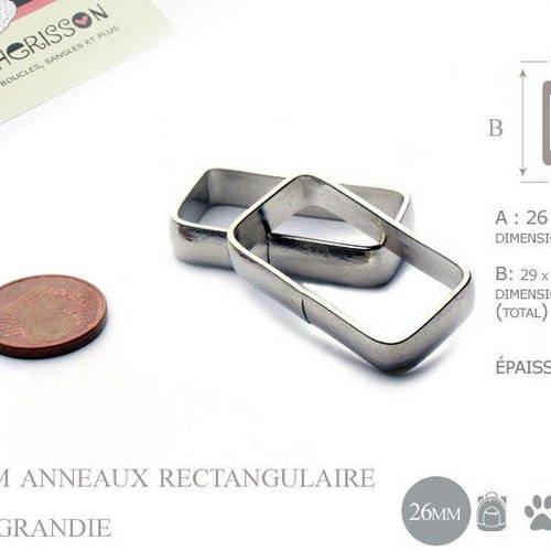 2 x 25mm boucles anneau rectangulaire / passants simple / métal / plat