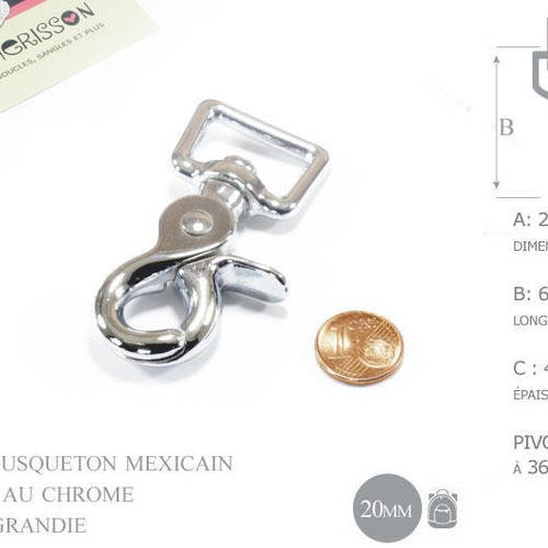 20mm mousqueton mexicain / mousqueton a gâchette- placage chrome