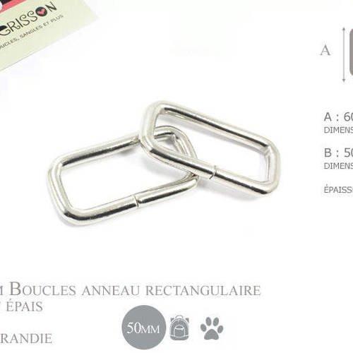 2 x 50mm anneaux rectangulaires / passants simples / métal / nickel