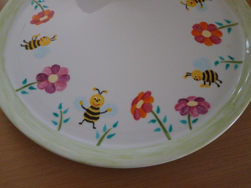 plat porcelaine peint motif abeille