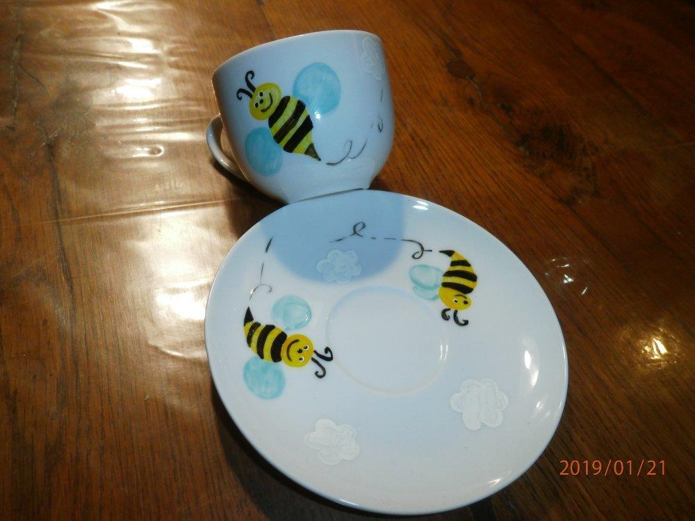 tasse et sous tasse à café porcelaine abeille et nuage