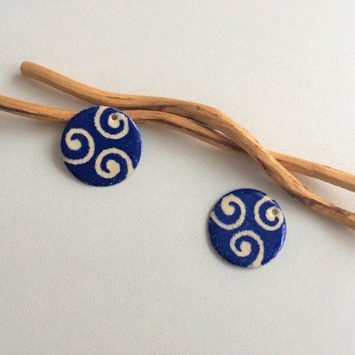 X2 sequins  breloques ivoire et bleu foncé