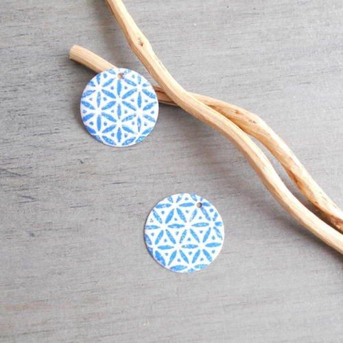 X 2  sequins breloques blanc et bleu
