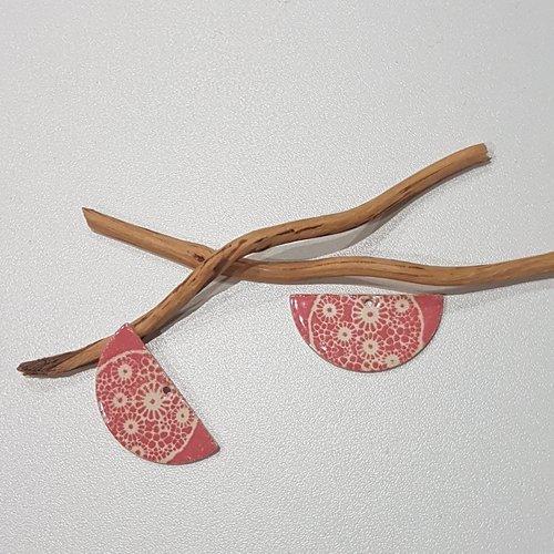 X2 sequins breloques demi lune ivoire et vieux rose