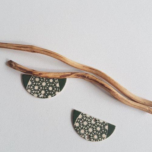 X2 sequins connecteurs demi lune ivoire et vert olive