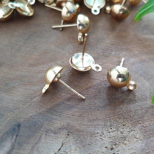 Boucles d'oreille puce en métal doré
