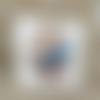 Cabochon adhésif oiseau bleu 22 mm