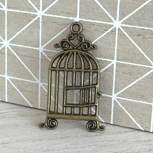 Breloque cage bronze